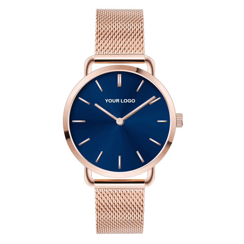 Trendy Milanaise Rose Gold Lady Watch For OEM