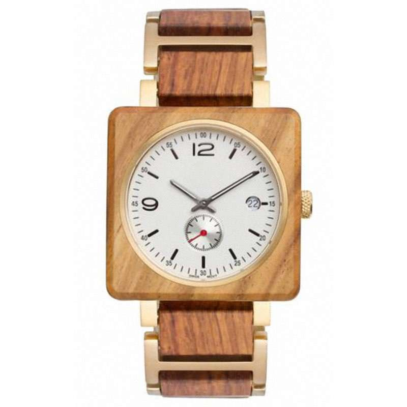 GW-7012 Square Steel Wood Watches Custom Logo
