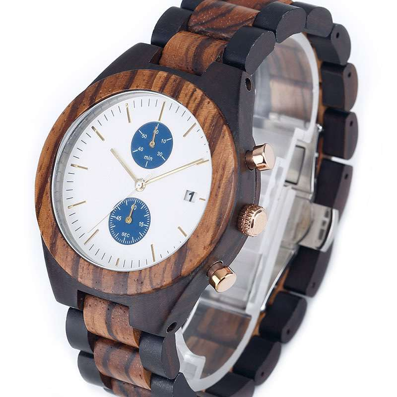 Chronograph Wooden Watches for Men CM-8010 Customize Chinese Watches Factory