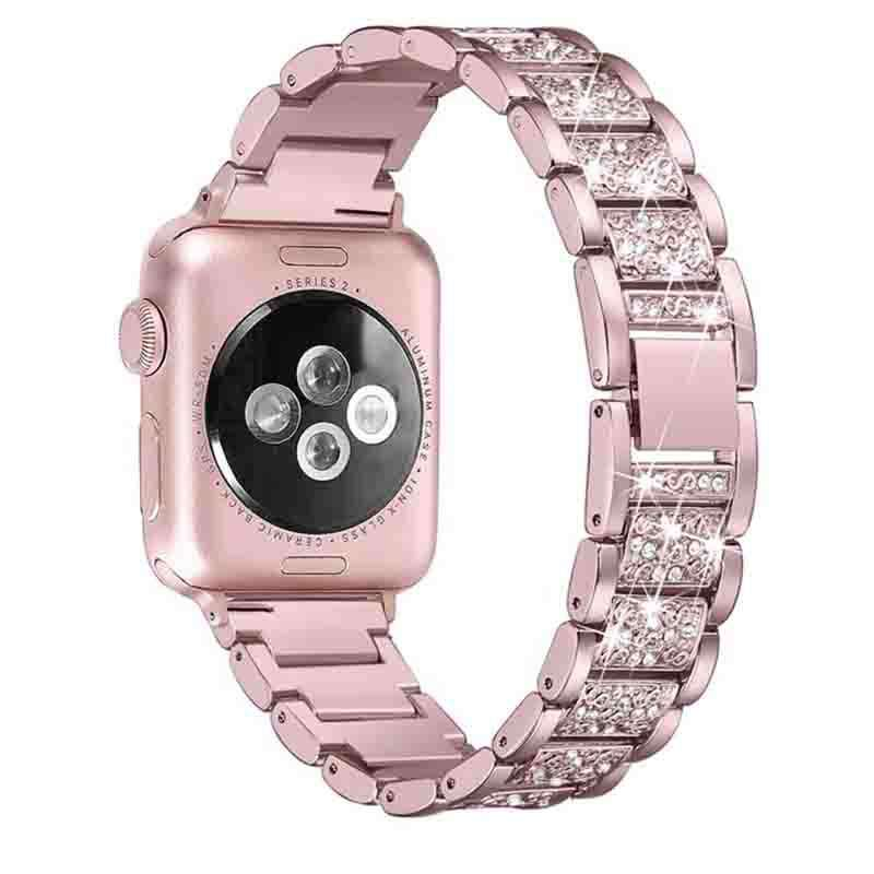 Fashion Luxury Style Stainless Steel With Diamonds Small MOQ Is Available Apple Smart Watch Band