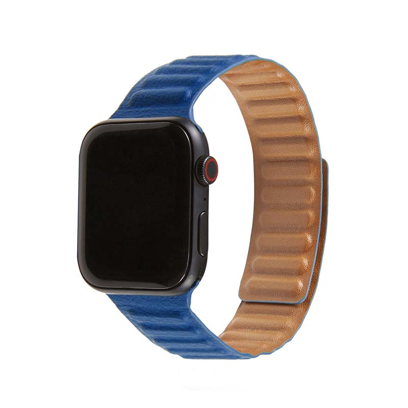 Luxury Unique Design Genuine Leather Adjustable Magnetic Apple Watch Band 42MM 44MM