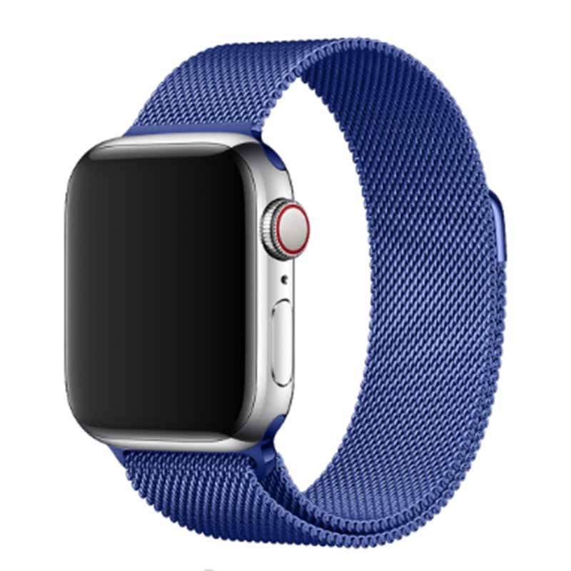 Stainless Steel Apple Watch Mesh Metal Loop Band With Adjustable Magnetic Closure Replacement Strap Fit For Apple Smart Iwatch Series