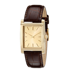 GM-8005 Vintage Gold Dial And Brown Leather Band Square Watch Classic Watches For Men