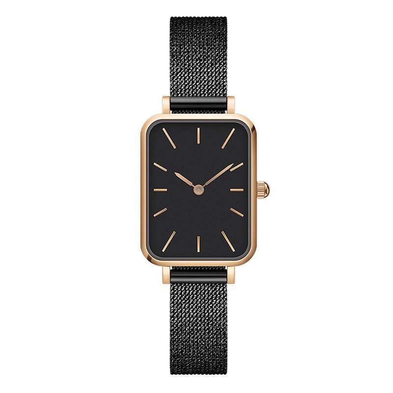 GF-7042 High Quality Watch With Square Dial Woman Black Watch China Watch Factory