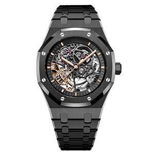 GM-1115 Stainless Steel Black Case Mechanical Watch For Men Hollow Out Effect Dial Watches Custom Mechanical Steel Watches