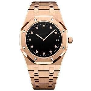 GM-8017 Luxury Diamond Hour Marks Formal Wristwatch Steel Band Waterproof Watches For Men