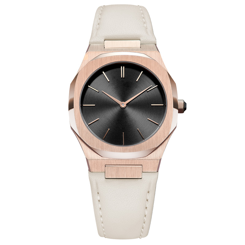 GF-7048 Rose Gold Case With Black Dial Watch Genuine Leather Band Ladies Watch China Watch Factory