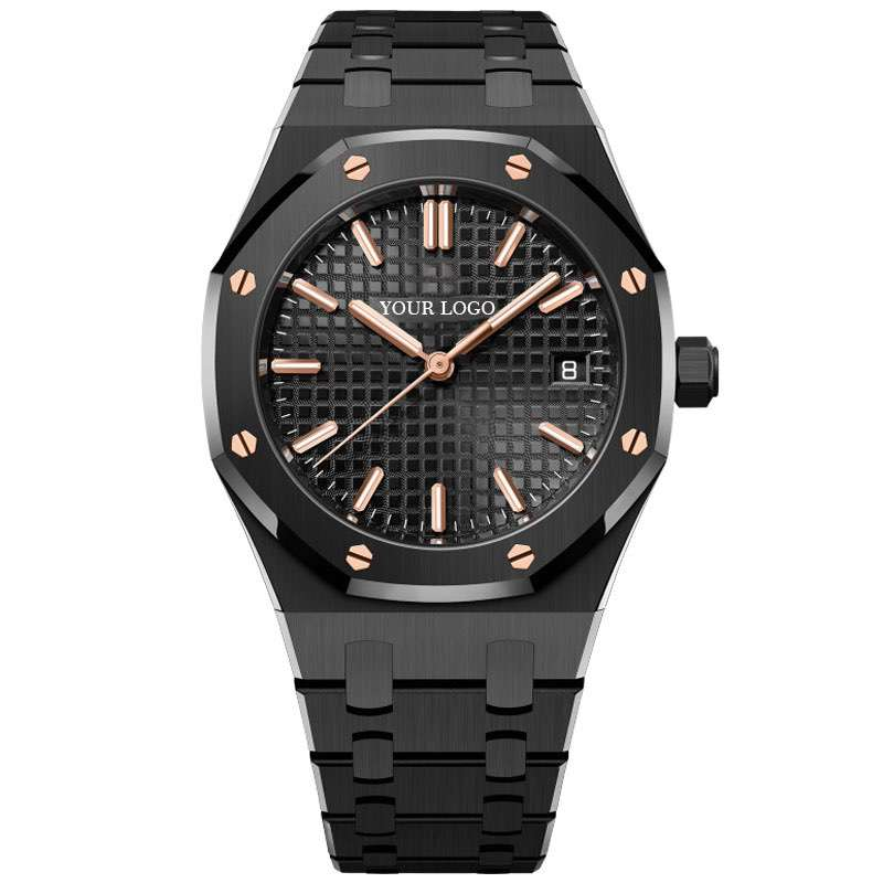 GM-8022 Classic Black Watch Gold Indexes Elegant Stainless Steel Men Watch OEM Watch China Watch Suppliers