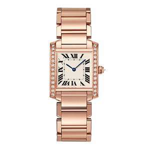 GF-7065 Rose Gold Case And Band Roman Numeral Luxury Wristwatch Square Case With Diamond Ladies Custom Watch