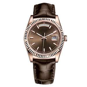 GM-8061 Business Style Mens Watch With Leather Band Brown Color Japan Movement Watches Make In China